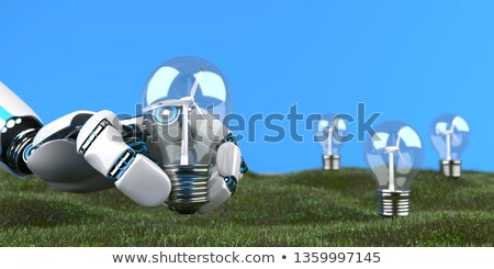 Humanoid Robot Hand Bulb Wind Turbine Stock photo © limbi007