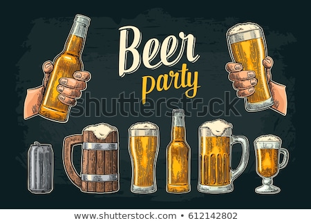 Bottle And Glass Of Beer With Wooden Barrel Vector Stock photo © pikepicture
