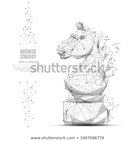 Chess Horse White Piece Isolated on Blue. Vector Stock photo © robuart