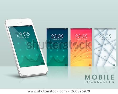 modern mobile cell phone with lock screen ui ux and gui template stock photo © tashatuvango
