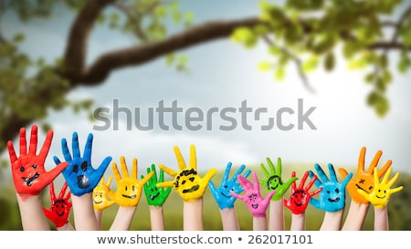 Multicultural children in leaf scene Stock photo © bluering