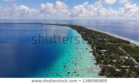 Drone image of Fakarava atoll island motu and in French Polynesia Tahiti Stock photo © Maridav