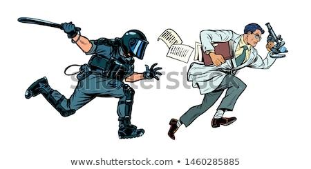 Gouvernement science émeute police pop art rétro Photo stock © studiostoks