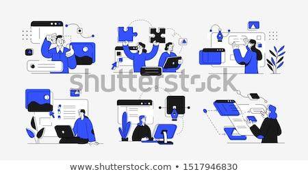 Adam programlama kod bilgisayar ofis dizüstü bilgisayar Stok fotoğraf © AndreyPopov
