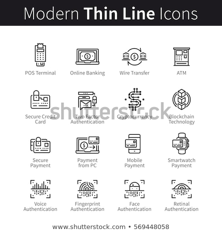 payment terminal smartphone vector thin line icon stock photo © pikepicture