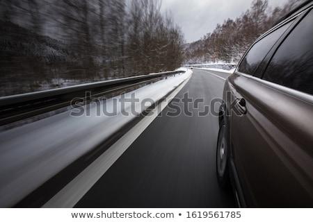 Hızlı hareketli araba kış alpine yol Stok fotoğraf © lightpoet