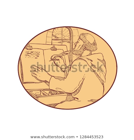 Medieval Monk Writing Illuminated Manuscript Drawing Color Stock photo © patrimonio