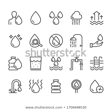 faucet with water glass vector sign thin line icon stock photo © pikepicture