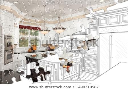 Pièces de puzzle ensemble terminé cuisine construire dessin Photo stock © feverpitch