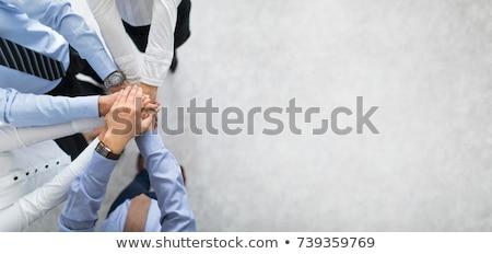 Stok fotoğraf: üst · görmek · iş · adamları · eller · birlikte