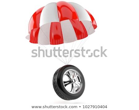 Foto stock: Paracaídas · rueda · blanco · aislado · 3D · 3d