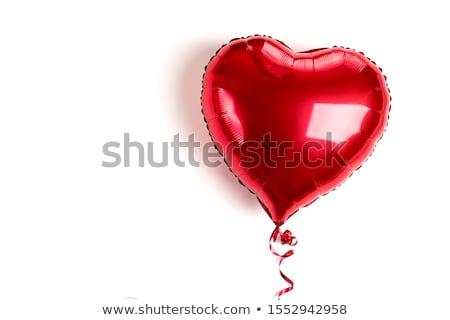 Piros szív alakú hélium léggömbök fehér Stock fotó © dolgachov