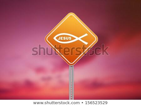 Stok fotoğraf: Dini · yol · işareti · yüksek · karar · grafik · turuncu