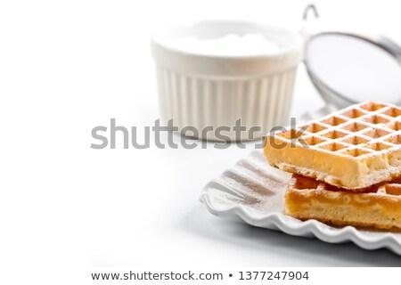 Belgium cukor por kerámia tányér fehér Stock fotó © marylooo