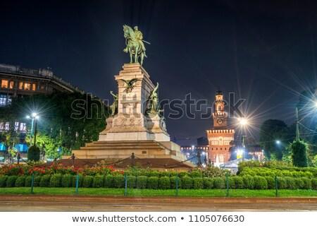 Milaan Italië hemel paard standbeeld geschiedenis Stockfoto © boggy