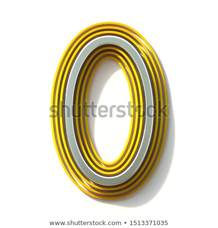 Yellow outlined font Number 0 ZERO 3D Stock photo © djmilic