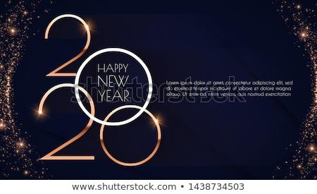 Glückliches neues Jahr Grußkarte Inschrift geometrischen hellen Stil Stock foto © FoxysGraphic