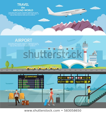 Airport Elements, Escalator and Runway Vector Stock photo © robuart