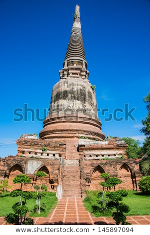 Orange roof of Thai temple, Pagoda. Buddhism concept Stock photo © galitskaya