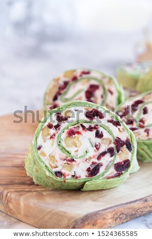 Cranberry Cream Cheese and Walnut Pinwheels on a Cutting Board Stock photo © StephanieFrey