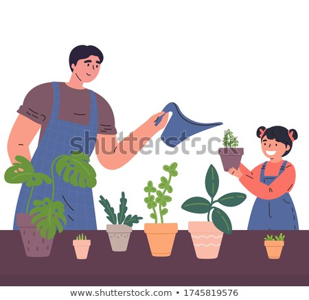 Children watering houseplant together flat vector illustration Stock photo © Decorwithme