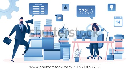 man with loudspeaker folder with paper document stock photo © robuart