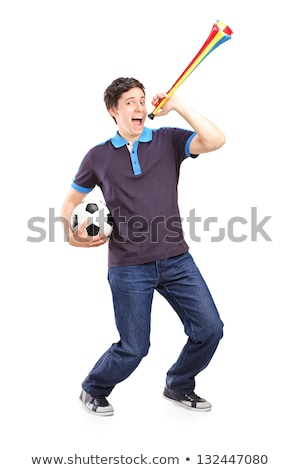 football fan with soccer ball blowing horn Stock photo © dolgachov