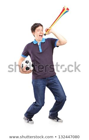juichen · voetbal · fan · Rood · witte · voetbal - stockfoto © dolgachov