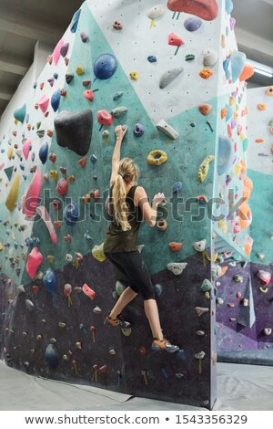 Young active woman with long hair grabbing by artificial rocks on climbing wall Stock photo © pressmaster