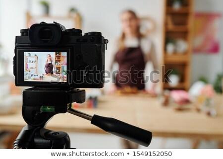 dziewczyna · film · kamery · starych · odizolowany - zdjęcia stock © pressmaster