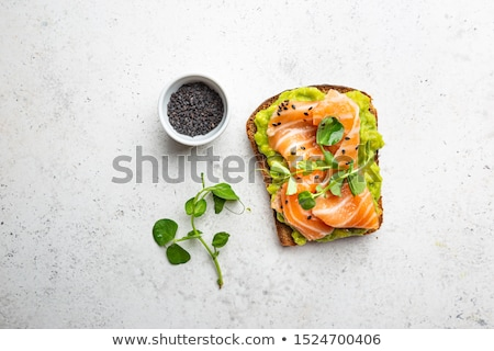 Toast saumon poissons fromages plaque fourche Photo stock © tycoon