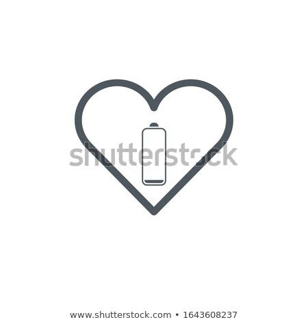 Red Heart and low battery sign for icon or button, Valentine's day concept, Stock Vector illustratio Stock photo © kyryloff