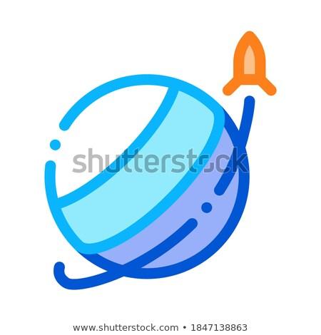 Razzo volare pianeta icona contorno illustrazione Foto d'archivio © pikepicture