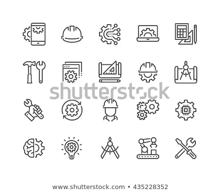 Brain And Mechanism Gear Icon Outline Illustration Stock photo © pikepicture