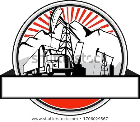 Oil Derrick Truck and Mountain Circle Retro Stock photo © patrimonio