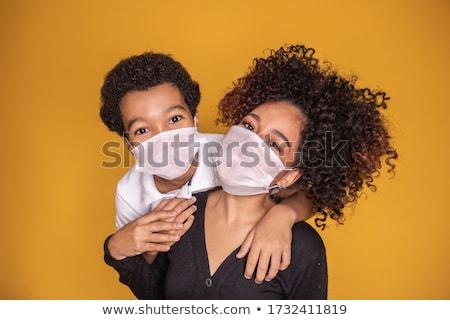 Cabelo preto menino máscara ilustração homem Foto stock © bluering
