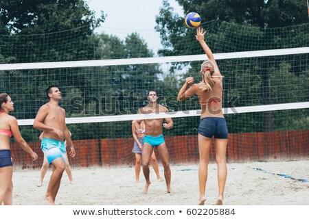 グループの人々  時間 演奏 ビーチ バレーボール ストックフォト © Kzenon