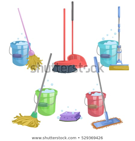old wash bucket with mop and brushes stock photo © sandralise