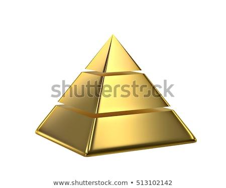 gouden · 3D · piramides · zwarte · bouw · metaal - stockfoto © FransysMaslo