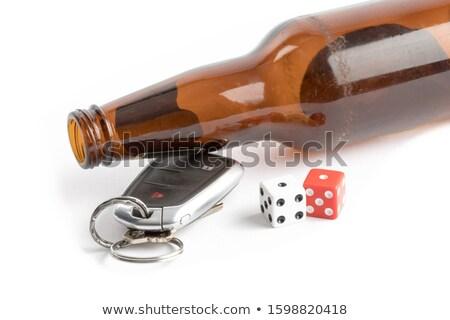 bier · dobbelstenen · autosleutels · glas · witte · gokken - stockfoto © morrbyte