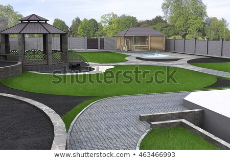 Wide angle view of a garden pool Stock photo © backyardproductions