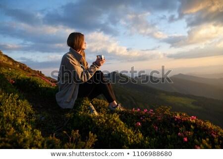 kadın · içme · dağlar · genç · kadın · yürüyüş · buzul - stok fotoğraf © blasbike
