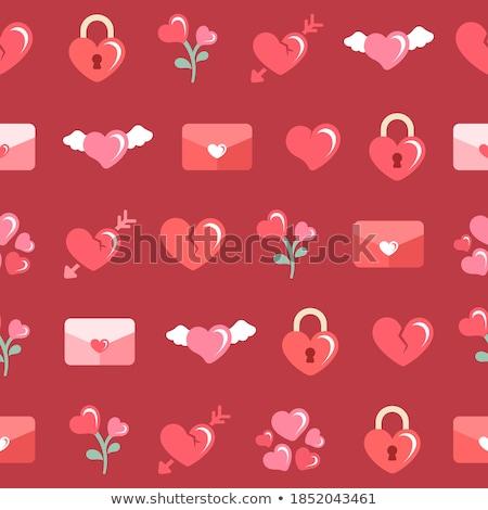 Ayarlamak kırmızı simgeler kağıt ambalaj çıplak kalp Stok fotoğraf © Ecelop