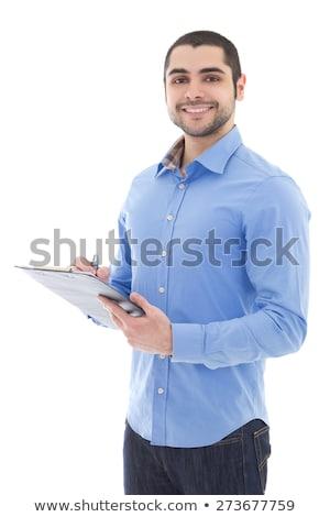 молодые · деловой · человек · синий · буфер · обмена · портрет - Сток-фото © feedough