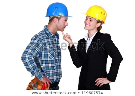 Tradesman flirting with an architect Stock photo © photography33