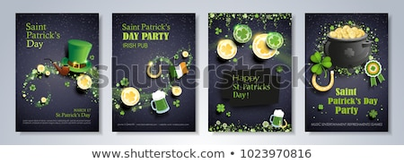 Leprechaun with Beer and Pot of Gold Coins Stock photo © indiwarm