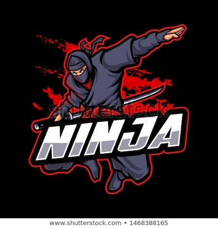 ninja · guerreiro · avatar · branco · homem · preto - foto stock © vectomart