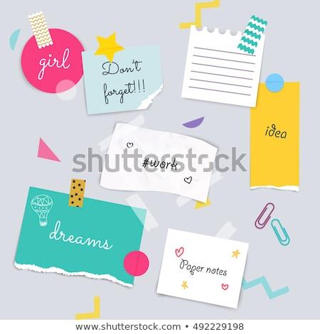 Merkt sticky notes ruimte tekst kantoor Stockfoto © photohome