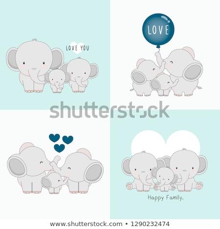 elefant · familie · ilustrare · elefantii · animal · legătură - imagine de stoc © sahua