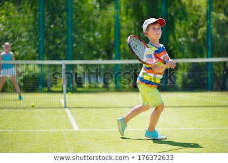 Boy On Tennis Court Stock photo © michey